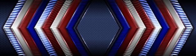 Abstraktes klassisches rotes geometrisches metallic auf dunkelblauem hintergrund