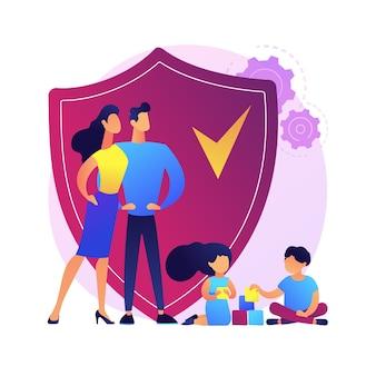 Abstraktes konzept der familienversicherung. kinder spielen, während ihre eltern sich um sie kümmern