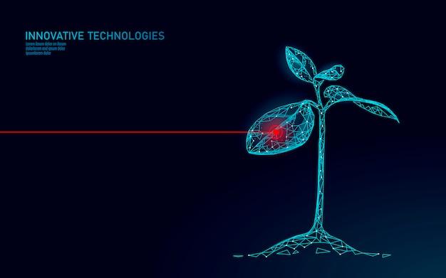 Abstraktes konzept der pflanzensprossbiotechnologie. 3d-rendering-keimlingsbaum hinterlässt dna-genom-engineering-vitaminzusatz. medizinische wissenschaft leben öko polygon dreiecke niedrige poly illustration