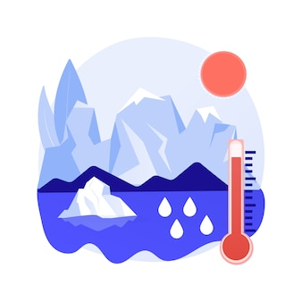 Abstraktes konzept der schmelzenden gletscher