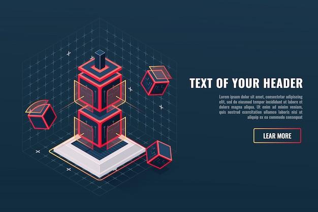 Abstraktes konzept des spielelement-ikonentotems, kontrollpunkt, sichtbarmachung der digitalen daten