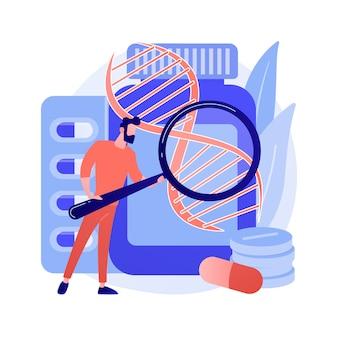 Abstraktes konzeptvektorillustration der biopharmakologieprodukte. biopharmakologie und körperpflege, biologisches produkt, mediale kosmetik, natürliche apotheke, abstrakte metapher für nahrungsergänzungsmittel.