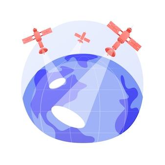 Abstraktes konzeptvektorillustration der erdbeobachtung. raumfahrttechnik, planetenforschung, satellitendienst, geoinformation, angewandte erdbeobachtung, abstrakte fernerkundungsmetapher.
