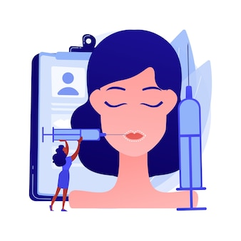 Abstraktes konzeptvektorillustration der lippeninjektionen. füllstoff kosmetische verfahren, pralle lippen methode, hyaluronsäure, verbessern das aussehen, plastische gesichtsinjektion, botulinumtoxin abstrakte metapher.