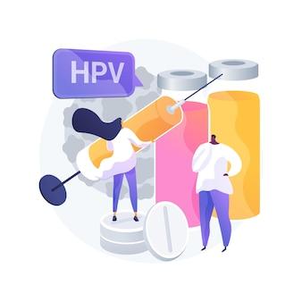 Abstraktes konzeptvektorillustration der menschlichen papillomavirus-behandlung. humanes papillomavirus-medikament, hpv-behandlung, reaktion des immunsystems, linderung der symptome, entfernen der abstrakten metapher der zellen.