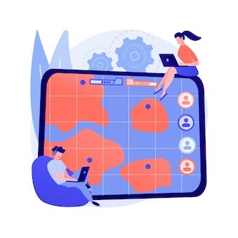 Abstraktes konzeptvektorillustration der multiplayer-online-kampfarena. multiplayer-kampfarena, riesiges online-spiel, mmog, moba arts, echtzeit-action-strategie, abstrakte metapher der spieleplattform.