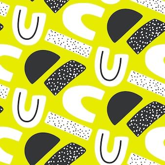 Abstraktes kreatives nahtloses muster mit hellen neonformen. lebendige textur mit geometrischen figuren. moderner bunter sich wiederholender druck.