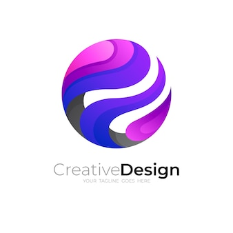 Abstraktes kreislogo mit buntem design, globussymbol, erdlogos