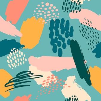 Abstraktes künstlerisches nahtloses muster mit modischen hand gezeichneten beschaffenheiten