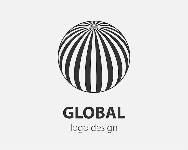 Abstraktes kugelförmiges logo mit linien. geeignet für globale unternehmen