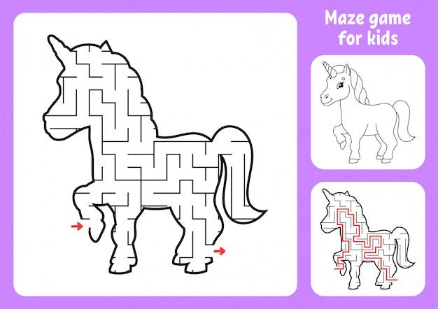 Abstraktes labyrinth. magisches einhorn. spiel für kinder.