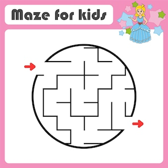 Abstraktes labyrinth spiel für kinder puzzle für kinder cartoon-stil labyrinth rätsel