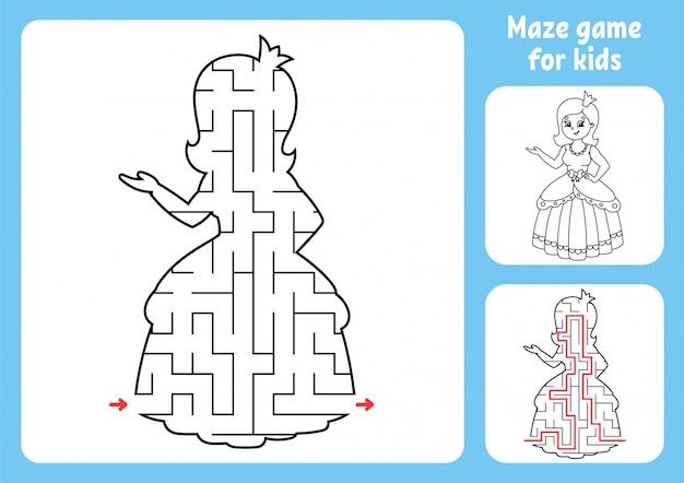 Abstraktes labyrinth. süße prinzessin. spiel für kinder. puzzle für kinder.