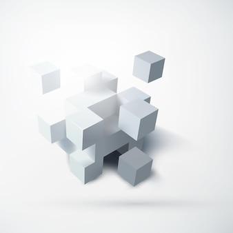 Abstraktes leeres geometrisches entwurfskonzept mit gruppe von weißen würfeln 3d auf licht lokalisiert