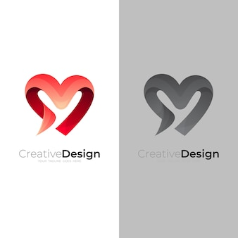 Abstraktes liebeslogodesign, herzlogo mit roter farbe