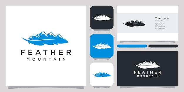 Abstraktes logo der feder und des berghügels und visitenkarte