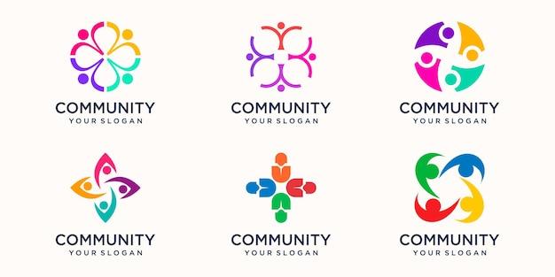 Abstraktes logo der menschengemeinschaft