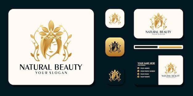 Abstraktes logo der schönheit mit kreativem stil und visitenkartendesign premium-vektor