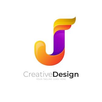 Abstraktes logo des buchstaben j mit buntem design