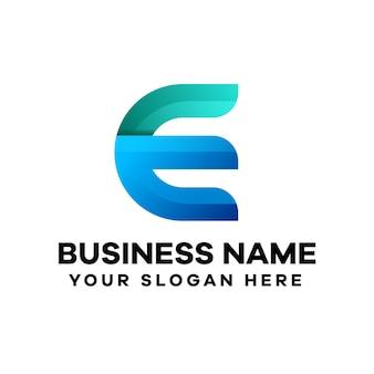 Abstraktes logo-design des buchstaben e mit farbverlauf