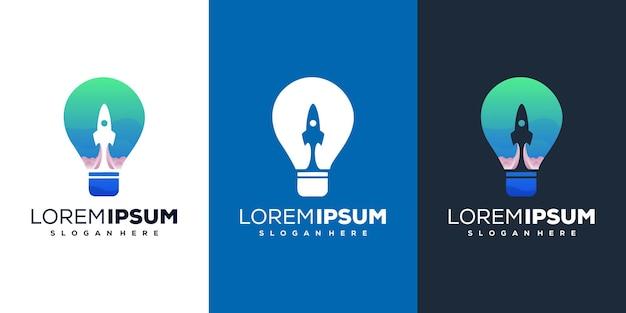 Abstraktes logo-design für rakete und glühbirne