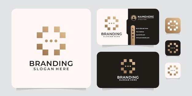 Abstraktes logo-design mit zufälliger technologie für marke und unternehmen