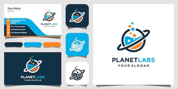 Abstraktes logo-design und visitenkarte des kreativen planeten orbit labour lab.