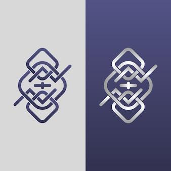 Abstraktes logo in zwei versionsschablonen