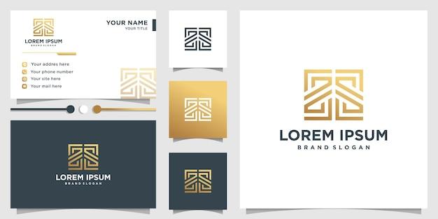 Abstraktes logo mit goldenem farbverlaufslinienkunststil und visitenkarten-entwurfsschablone