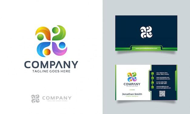 Abstraktes logo mit visitenkarte