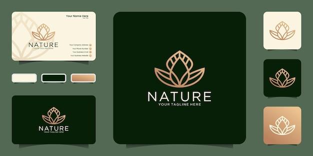 Abstraktes logo natur blatt und blumen design symbol und visitenkarte