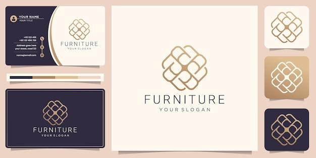 Abstraktes logo und visitenkarte der luxusmöbel-linienkunst