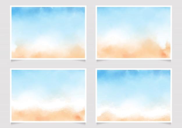 Abstraktes loses blau und sandstrand-aquarellplakat 5x7 horizontal