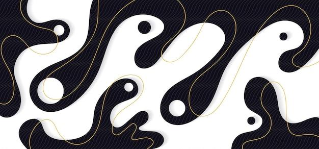 Abstraktes luxuriöses schwarzes fließendes design mit wellenlinienschablone der goldlinie. flüssigkeit der wellengrafik für kopfraumhintergrund