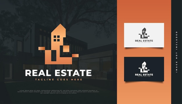 Abstraktes luxus-immobilien-logo-design. bau-, architektur- oder gebäudelogo-design