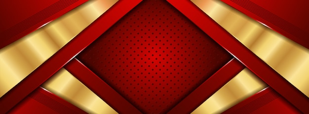 Abstraktes luxusrot 3d mit goldenem hintergrund