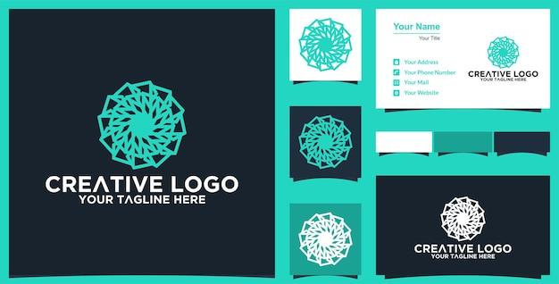 Abstraktes mandala-blumen-vektordesign elegantes premium-ornament-vektor-logo und visitenkarte