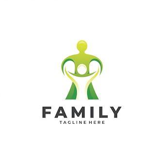 Abstraktes menschliches leute-elternteil-kinderfamilien-logo