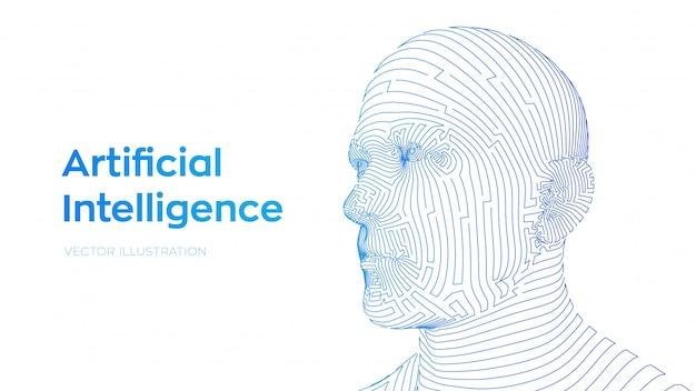 Abstraktes menschliches männliches gesicht. menschlicher kopf in der digitalen computerinterpretation des roboters. ai. konzept der künstlichen intelligenz.