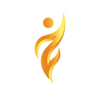 Abstraktes menschliches symbol, champion und gewinner goldenes symbol