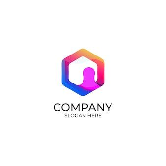 Abstraktes menschliches und polygon-logo