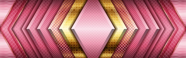 Abstraktes metallisches golddesign und moderne technologie der rosa rahmengeometrie