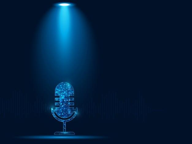 Abstraktes mikrofon auf dunkelblauem farbhintergrund