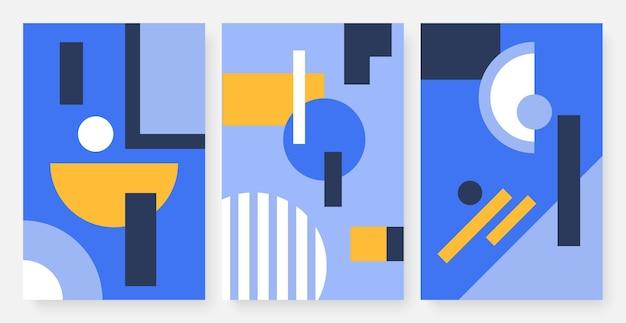 Abstraktes minimales muster mit geometrischen formen setzen trendiges geometrie-wand-kunst-design