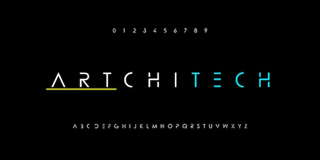 Abstraktes minimalistisches dünnes linienalphabet. digitale schriften mit moderner technologie