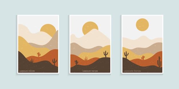 Abstraktes minimalistisches landschaftsplakat
