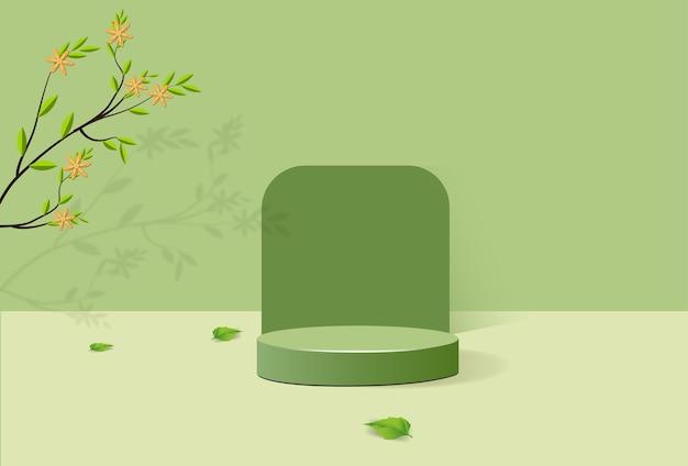 Abstraktes minimalistisches podium mit geometrischen formen. zylindrisches podium auf grünem hintergrund und grünen pflanzenblättern