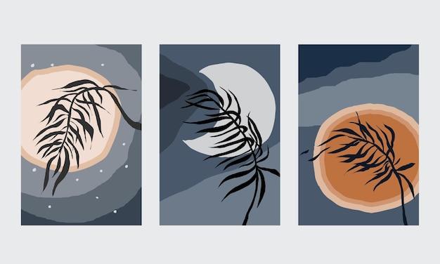Abstraktes minimalistisches poster mit blättern und zweigen boho sonnenaufgang sonnenuntergang mond pflanzenblatt