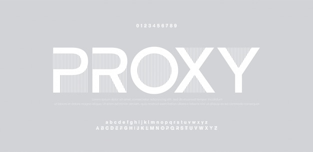 Abstraktes mode-schriftalphabet. minimale moderne städtische schriften. typografie schrift großbuchstaben kleinbuchstaben und zahlen.