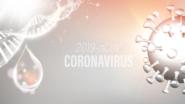 Abstraktes modell des coronavirus in futuristischen strahlen.
